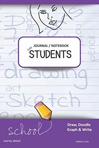 JOURNAL NOTEBOOK FOR STUDENTS Draw, Doodle, Graph & Write: Focus Composition Notebook for Students & Homeschoolers, School Supplies for Journaling and Writing Notes PURPLE PLAIN