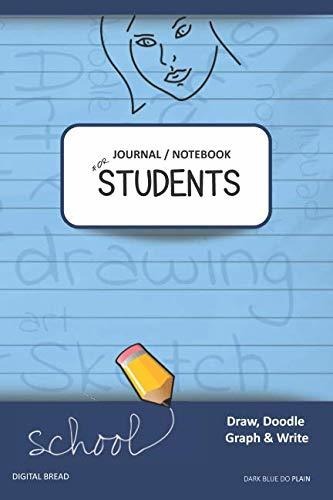 JOURNAL NOTEBOOK FOR STUDENTS Draw, Doodle, Graph & Write: Focus Composition Notebook for Students & Homeschoolers, School Supplies for Journaling and Writing Notes DARK BLUE DO PLAIN