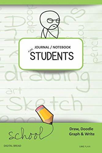 JOURNAL NOTEBOOK FOR STUDENTS Draw, Doodle, Graph & Write: Thinker Composition Notebook for Students & Homeschoolers, School Supplies for Journaling and Writing Notes LIME PLAIN
