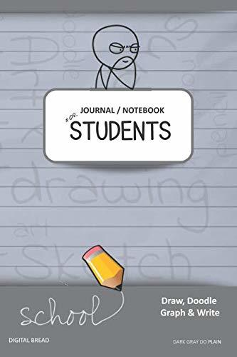 JOURNAL NOTEBOOK FOR STUDENTS Draw, Doodle, Graph & Write: Thinker Composition Notebook for Students & Homeschoolers, School Supplies for Journaling and Writing Notes DARK GRAY DO PLAIN