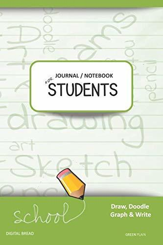 JOURNAL NOTEBOOK FOR STUDENTS Draw, Doodle, Graph & Write: Composition Notebook for Students & Homeschoolers, School Supplies for Journaling and Writing Notes GREEN PLAIN