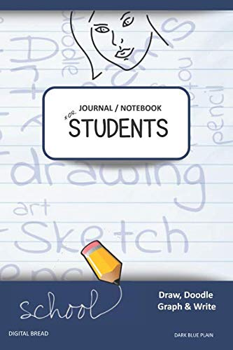 JOURNAL NOTEBOOK FOR STUDENTS Draw, Doodle, Graph & Write: Focus Composition Notebook for Students & Homeschoolers, School Supplies for Journaling and Writing Notes DARK BLUE PLAIN